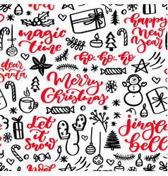christmas seamless pattern doodles and holiday vector image vector image
