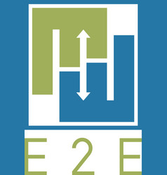 e2e negative space concept engineer-to-engineer vector image