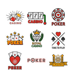 gambling poster of casino and poker logotypes on vector image vector image