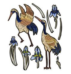 Heron-crane embroidery with iris flowers vector