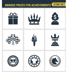 Icons set premium quality of awards prizes for vector image vector image