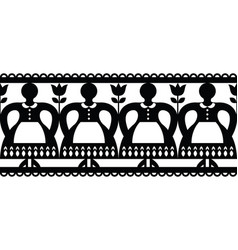 polish folk art cutout pattern with women vector image vector image