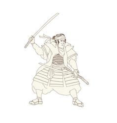 samurai warrior katana fight stance woodblock vector image vector image