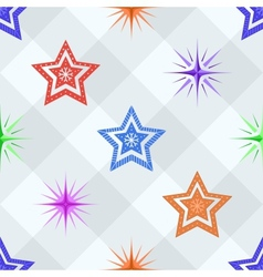 Seamless background stars on a checkered vector image