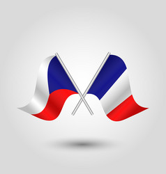 two crossed czech and french flags vector image vector image