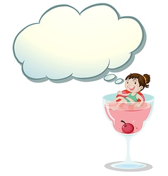 A happy little girl above the wine glass vector image vector image