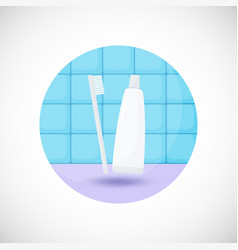 Toothbrush and paste flat icon vector