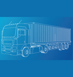 truck abstract drawing wire-frame eps10 vector image vector image