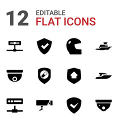 12 guard icons vector image