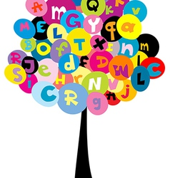Abstract tree with the letters of alphabet vector image