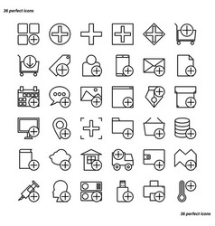 add outline icons perfect pixel vector image