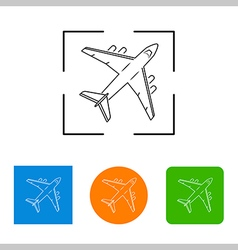 Airplanes thin outline icon vector