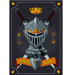 antique poster with knight helmet cartoon vector image