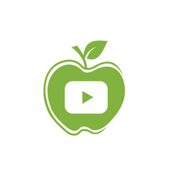 Apple and play button symbol logo sign vector