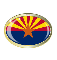 Arizona state flag oval button vector