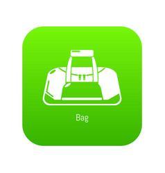 Bag sport icon green vector