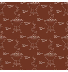 barbecue seamless pattern or background vector image