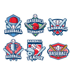baseball badge design set vector image