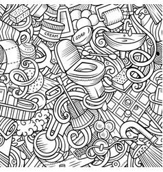 Bathroom hand drawn cartoon doodles seamless vector