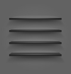 Black empty shelves on dark wall vector