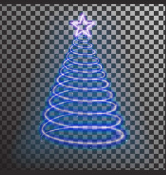 blue neon christmas tree light tree effect with b vector image
