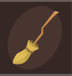 Broom made from twigs on long wooden handle vector