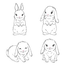 Bunny rabbit easter symbols cart set hand drawn vector