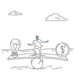 Businessman balancing between money and light bulb vector