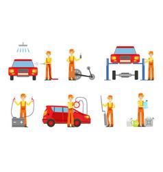 car service set male auto mechanics in uniform vector image