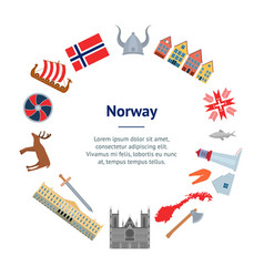 cartoon norwegian travel and tourism banner card vector image