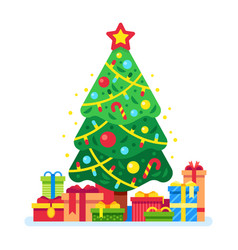 Christmas tree and gift boxes xmas present under vector