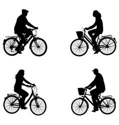 City bicyclists vector