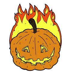 Comic cartoon grinning pumpkin vector