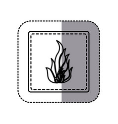 Contour emblem sticker fire icon vector