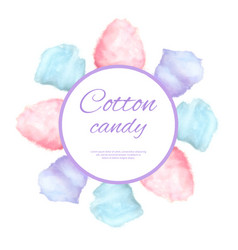 Cotton candy round button surround by sweet sugar vector