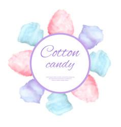 Cotton candy round button surround sweet sugar vector