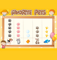 Count number favorite pets vector