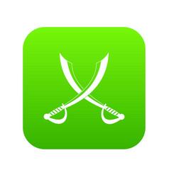 crossed sabers icon digital green vector image
