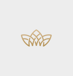 Crown flower lotus logo premium house spa vector