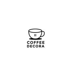 Cup coffee shop interior architecture logo design vector