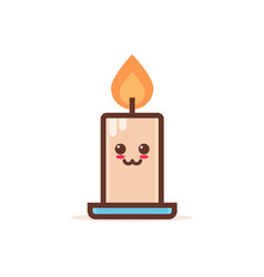 cute burning candle cartoon comic character with vector image