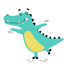Cute crocodile rollerblading funny alligator vector