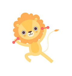 Cute lion exercising with dumbbells funny african vector