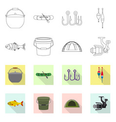 Design of fish and fishing symbol set of vector