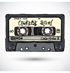 Doodle style cassette tape vector