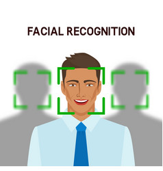facial recognition concept man in crowd vector image