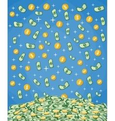 Falling money into big pile cash vector