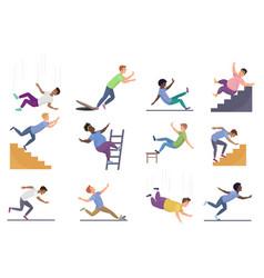 Falling people set cartoon vector