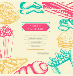 fast food - color hand drawn vintage postcard vector image