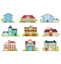 flat cottages modern cottage houses suburban vector image